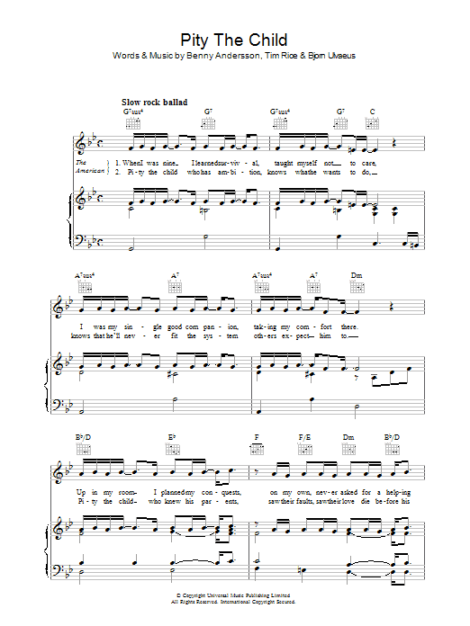 Pity The Child (from Chess) Sheet Music