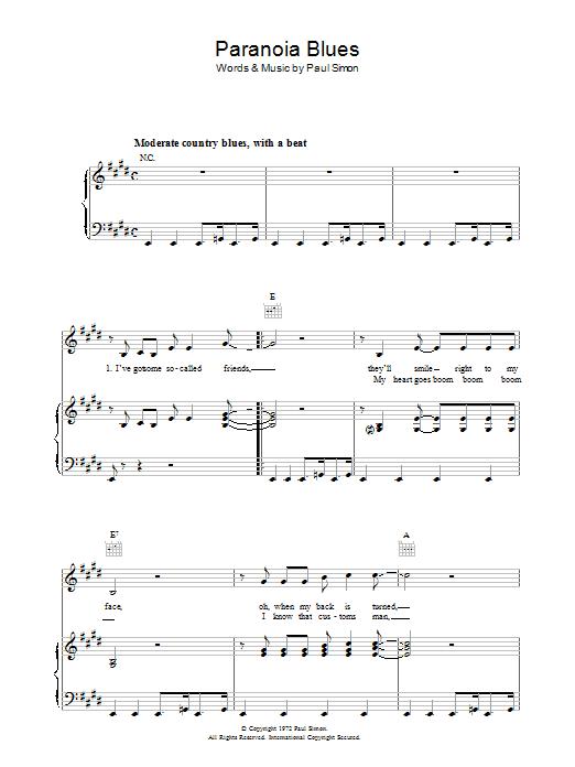 Paranoia Blues (Piano, Vocal & Guitar)