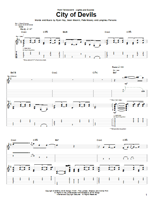 Tablature guitare City Of Devils de Yellowcard - Tablature Guitare