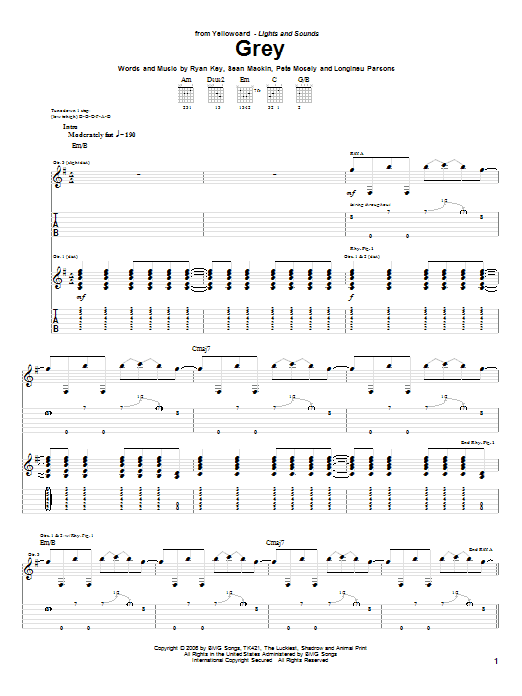 Tablature guitare Grey de Yellowcard - Tablature Guitare