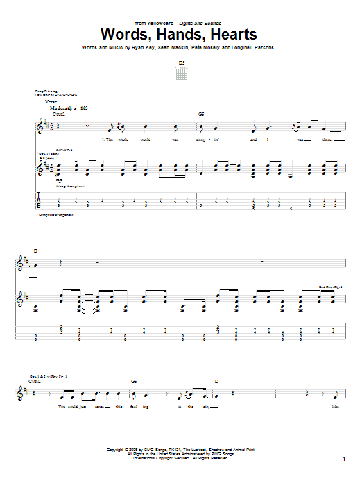 Tablature guitare Words, Hands, Hearts de Yellowcard - Tablature Guitare