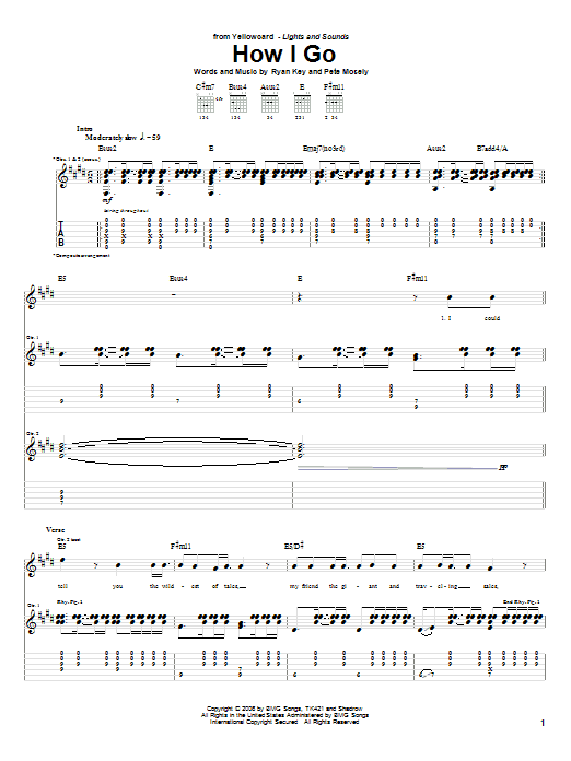 Tablature guitare How I Go de Yellowcard - Tablature Guitare