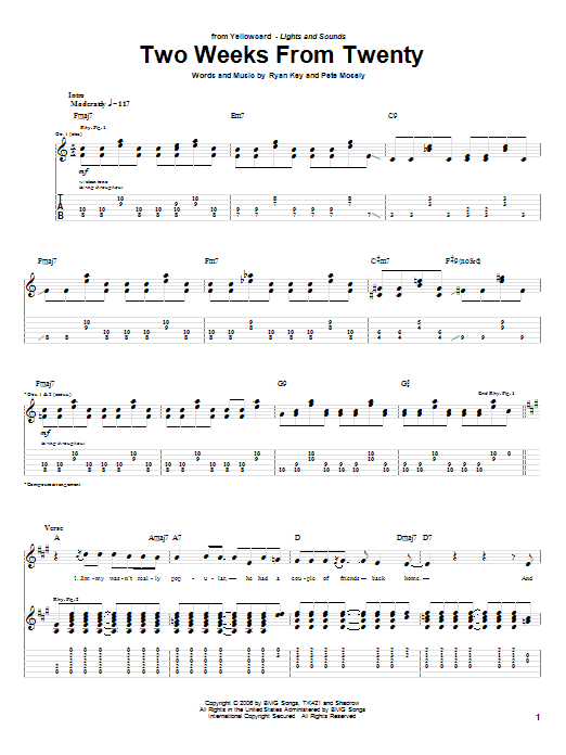 Tablature guitare Two Weeks From Twenty de Yellowcard - Tablature Guitare