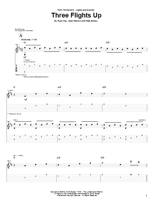 Tablature guitare Three Flights Up de Yellowcard - Tablature Guitare