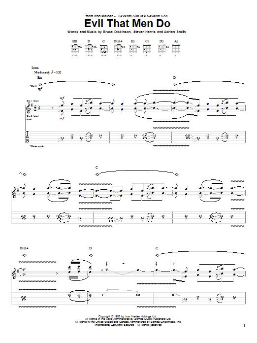 Tablature guitare Evil That Men Do de Iron Maiden - Tablature Guitare
