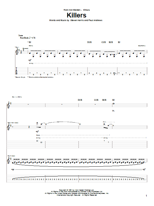 Tablature guitare Killers de Iron Maiden - Tablature Guitare
