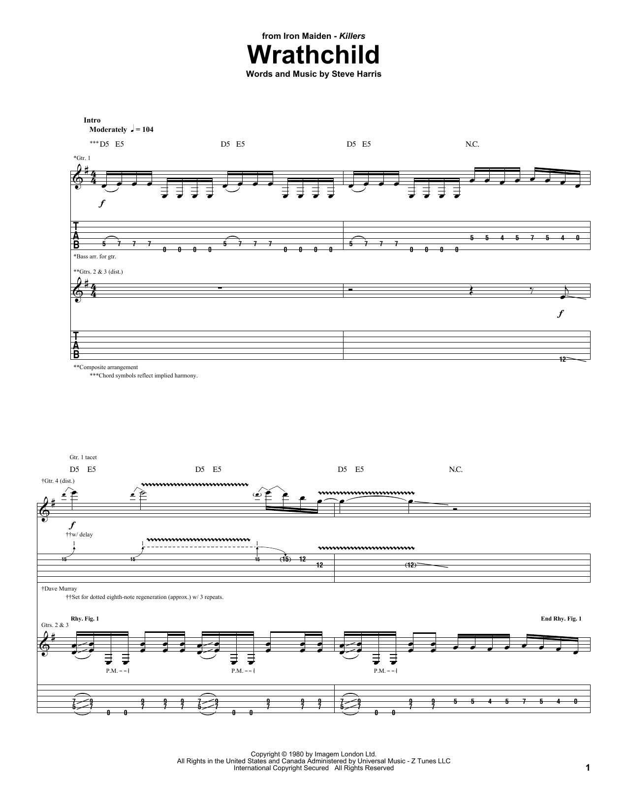 Wrathchild Sheet Music