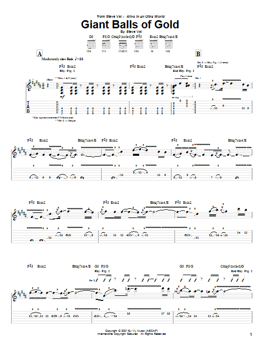 Tablature guitare Giant Balls Of Gold de Steve Vai - Tablature Guitare