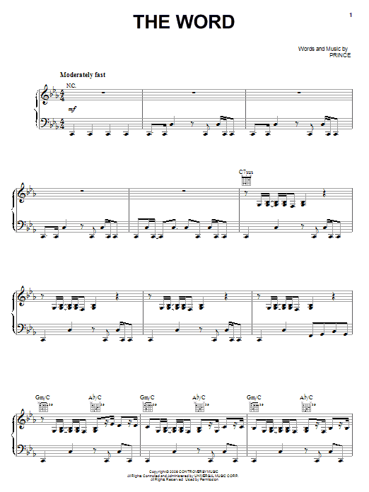 Partition piano The Word de Prince - Piano Voix Guitare (Mélodie Main Droite)