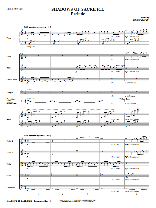Shadows of Sacrifice (complete set of parts) sheet music for orchestra/band (Orchestra) by John Purifoy and Charles Wesley. Score Image Preview.