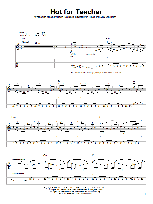 Hot For Teacher Sheet Music