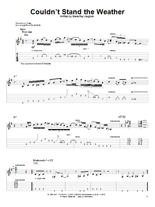Tablature guitare Couldn't Stand The Weather de Stevie Ray Vaughan - Autre