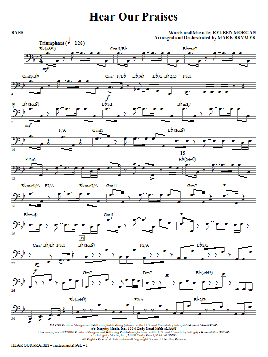 Hear Our Praises - Bass Sheet Music