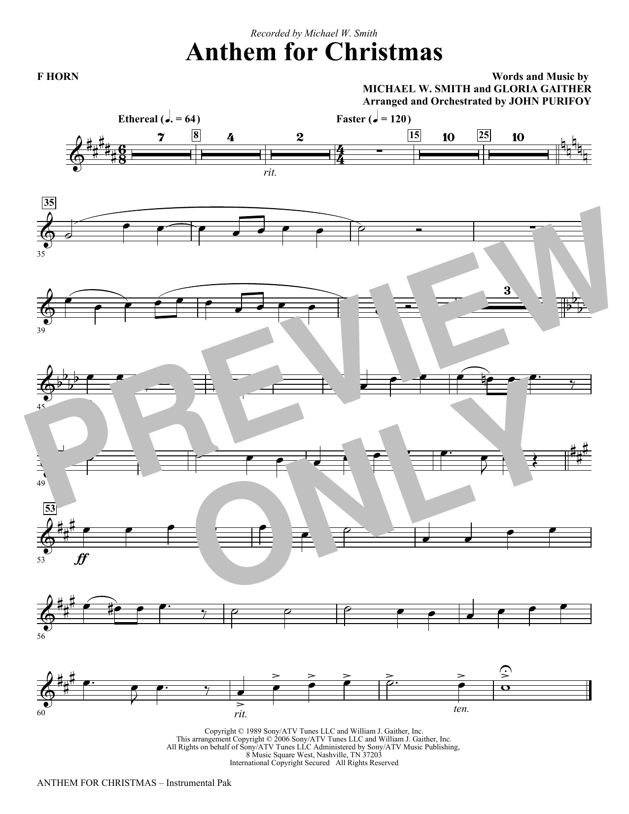 Anthem for Christmas - F Horn Sheet Music