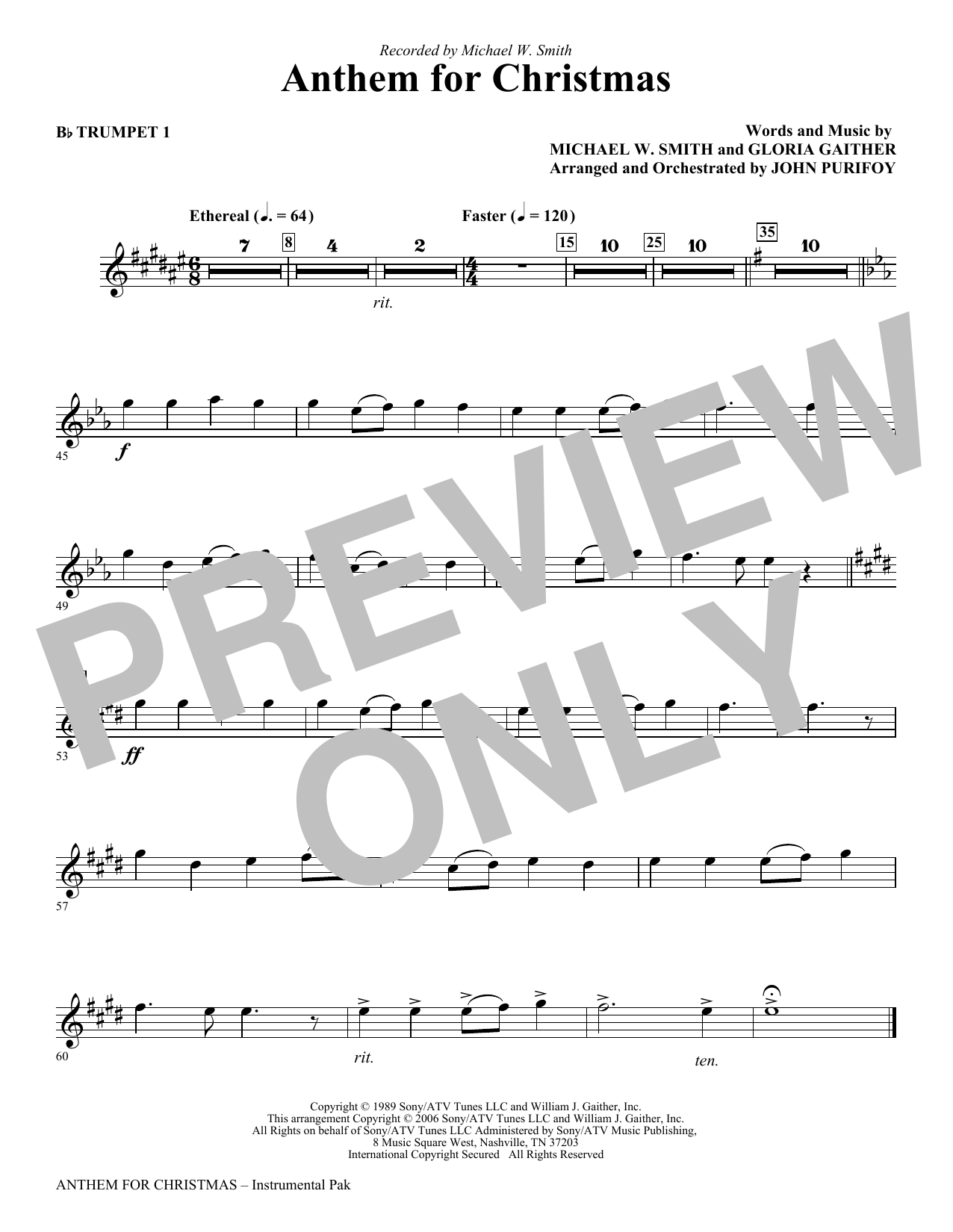 Anthem for Christmas - Bb Trumpet 1 Sheet Music