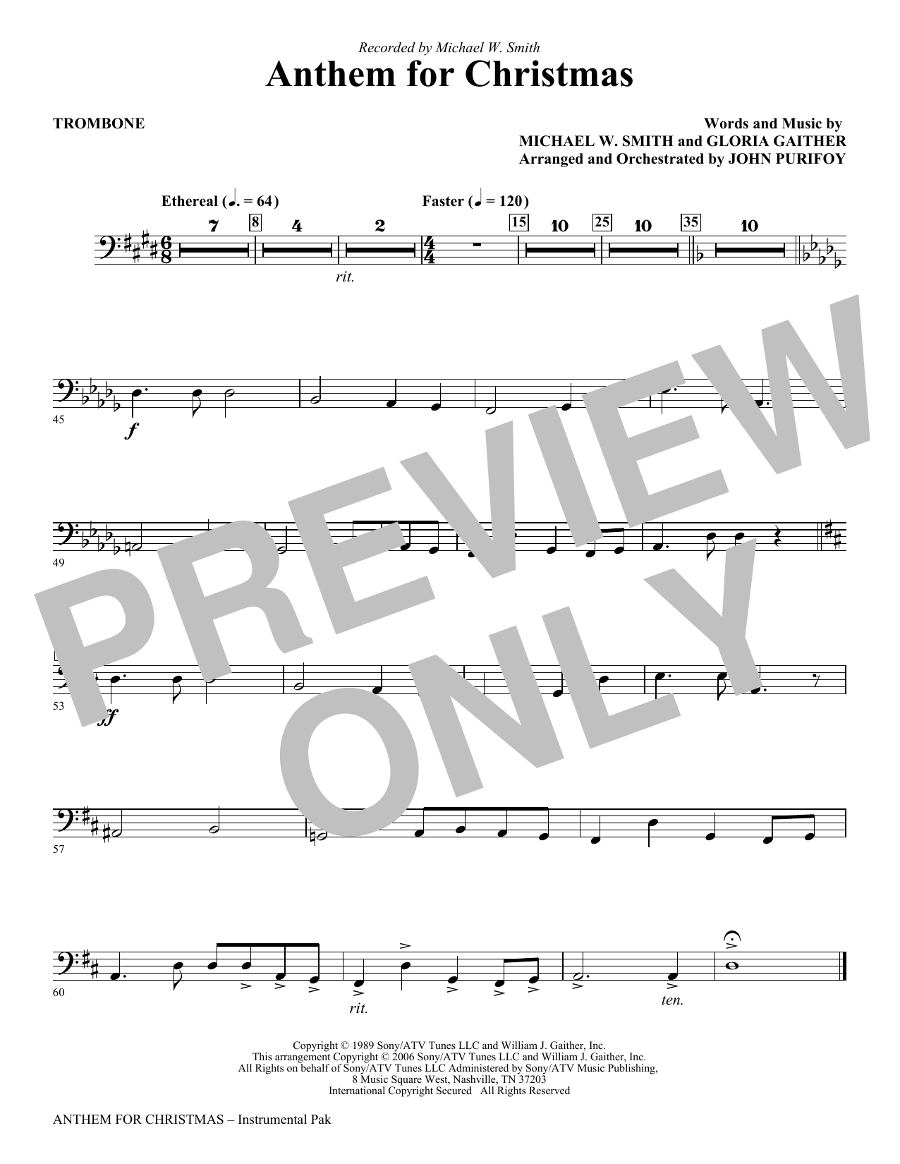 Anthem for Christmas - Trombone (Choir Instrumental Pak)