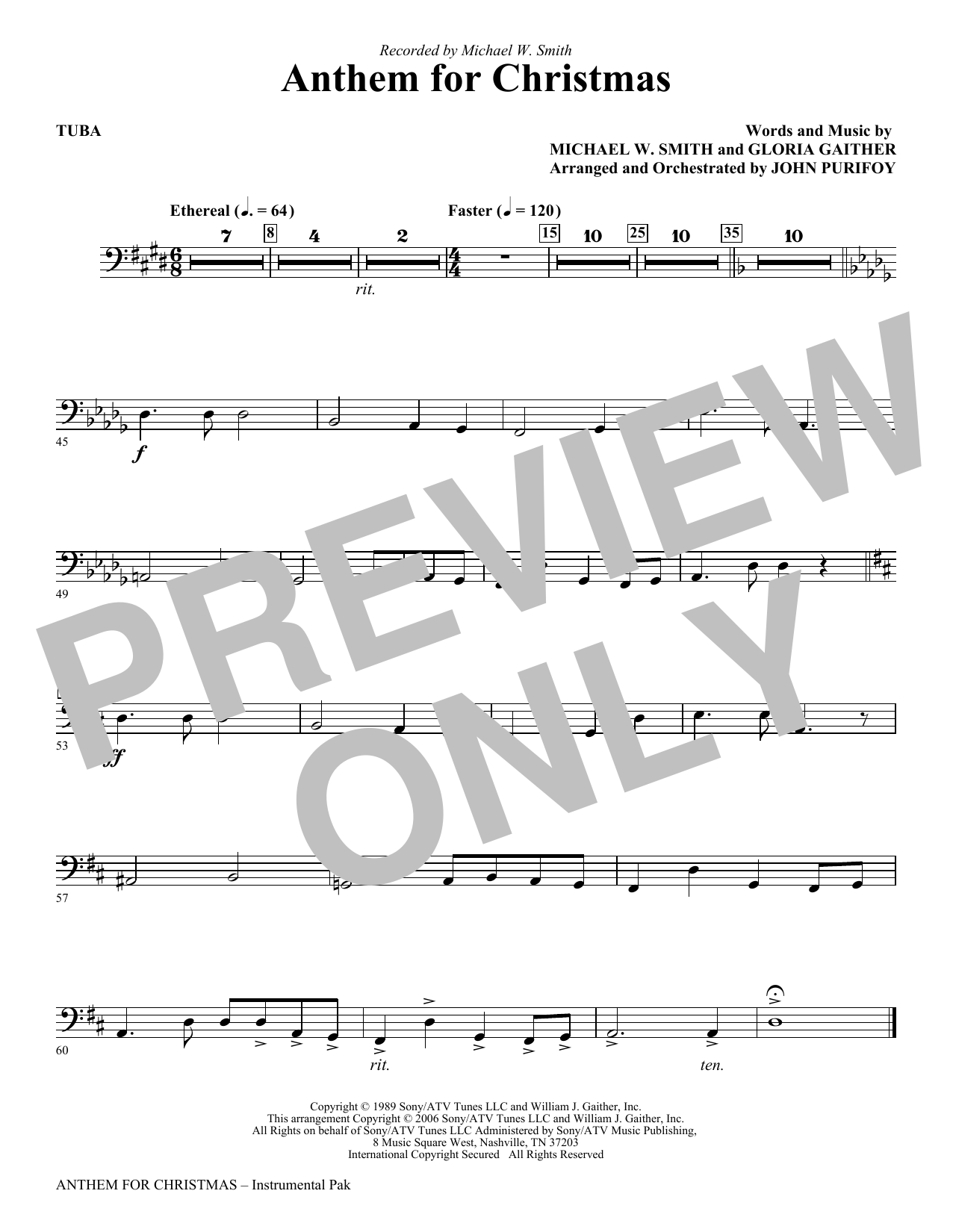 Anthem for Christmas - Tuba (Choir Instrumental Pak)