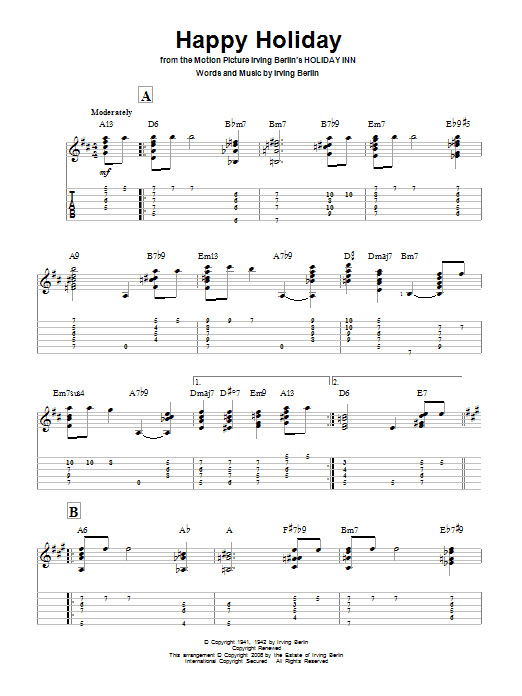 Tablature guitare Happy Holiday de Irving Berlin - Tablature Guitare