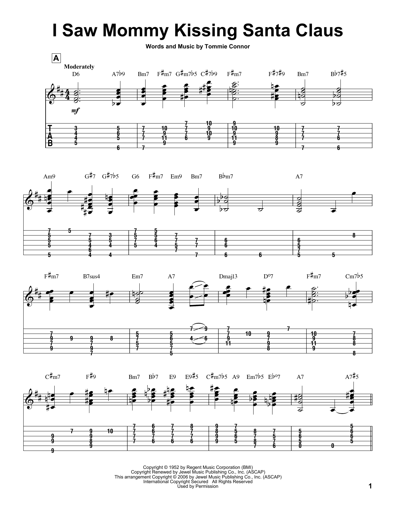 Tablature guitare I Saw Mommy Kissing Santa Claus de Tommie Connor - Tablature Guitare