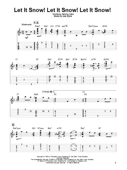 Tablature guitare Let It Snow! Let It Snow! Let It Snow! de Sammy Cahn - Tablature Guitare