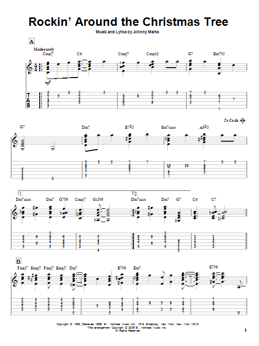 Guitar guitar tabs xmas : Rockin' Around The Christmas Tree by Brenda Lee - Solo Guitar ...