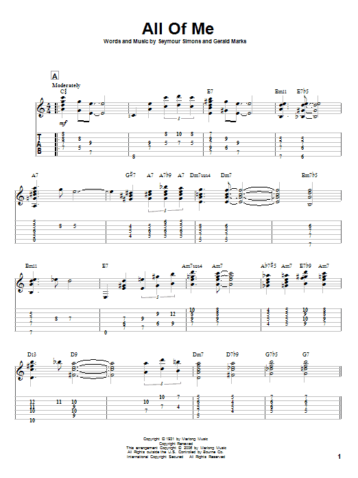 Tablature guitare All Of Me de Louis Armstrong - Tablature Guitare