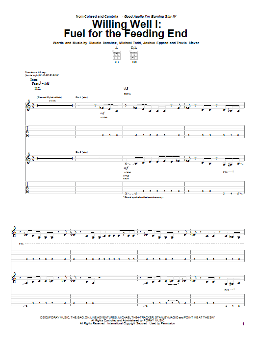 Tablature guitare Fuel For The Feeding End de Willing Well I - Tablature Guitare