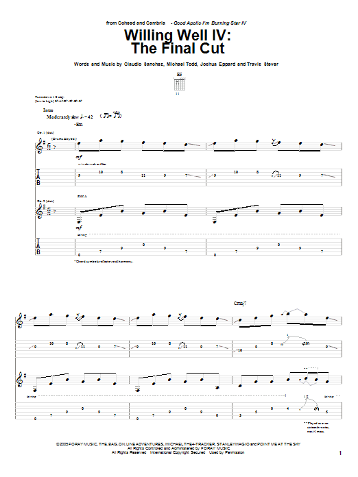 Tablature guitare The Final Cut de Willing Well IV - Tablature Guitare