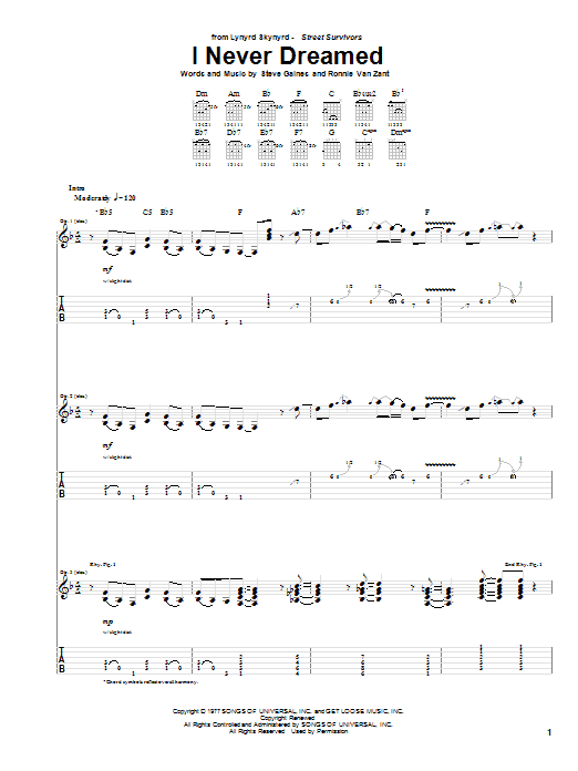 Tablature guitare I Never Dreamed de Lynyrd Skynyrd - Tablature Guitare