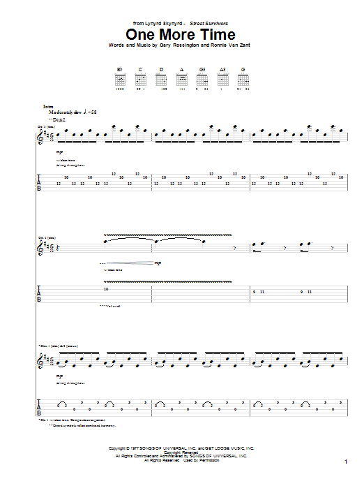 One More Time (Guitar Tab)