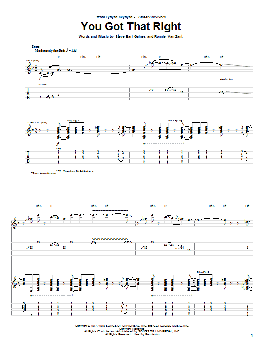 Tablature guitare You Got That Right de Lynyrd Skynyrd - Tablature Guitare