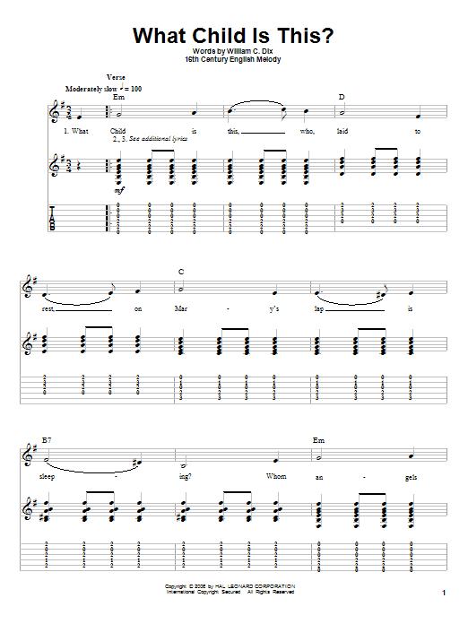 Tablature guitare What Child Is This? de William C. Dix - Autre