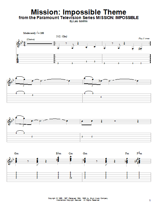 Tablature guitare Mission de Lalo Schifrin - Playback Guitare