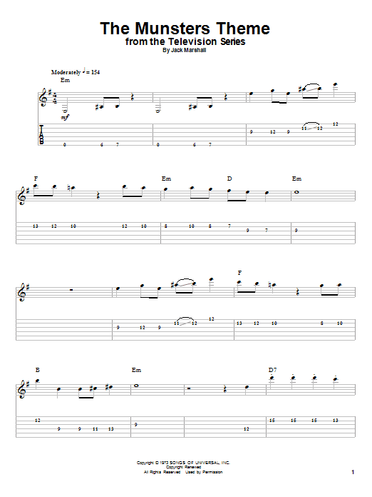 Tablature guitare The Munsters Theme de Jack Marshall - Playback Guitare