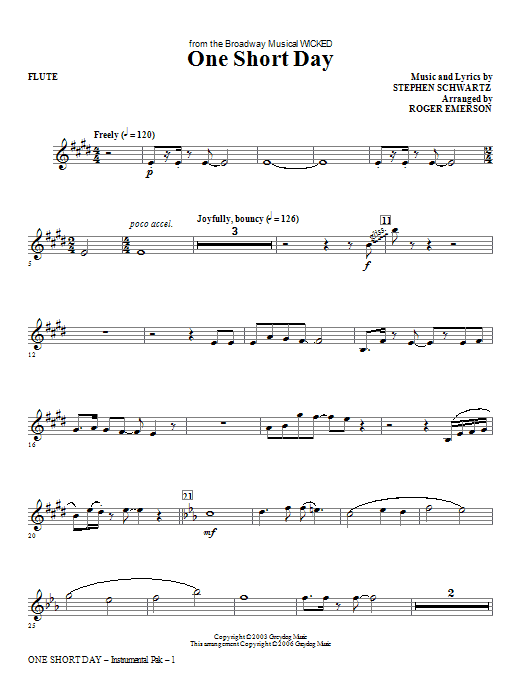 One Short Day (complete set of parts) sheet music for orchestra/band (chamber ensemble) by Stephen Schwartz and Roger Emerson. Score Image Preview.