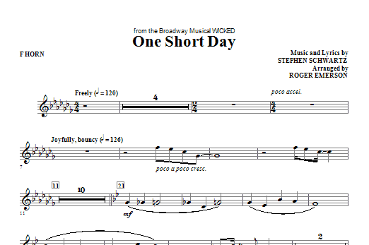 One Short Day - F Horn Sheet Music