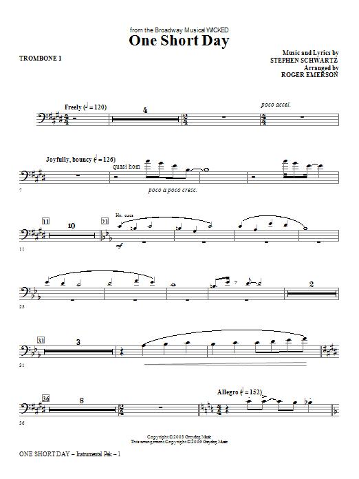 One Short Day - Trombone 1 Sheet Music