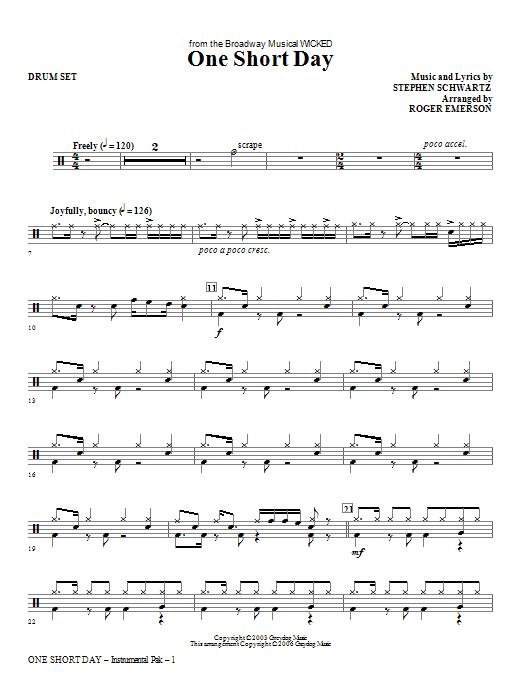 One Short Day - Drum Set Sheet Music