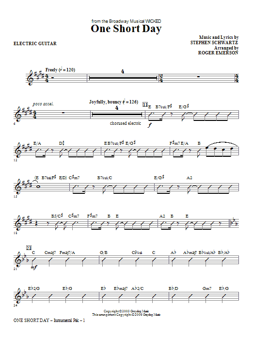One Short Day - Electric Guitar Sheet Music