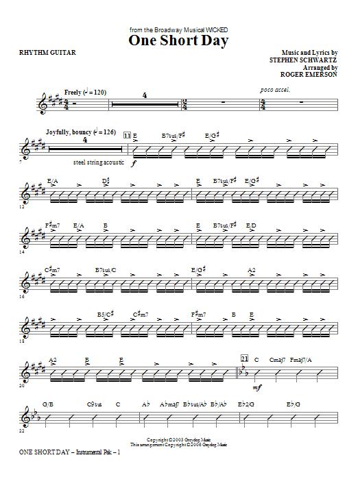 One Short Day - Rhythm Sheet Music