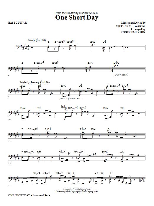 One Short Day - Bass Sheet Music