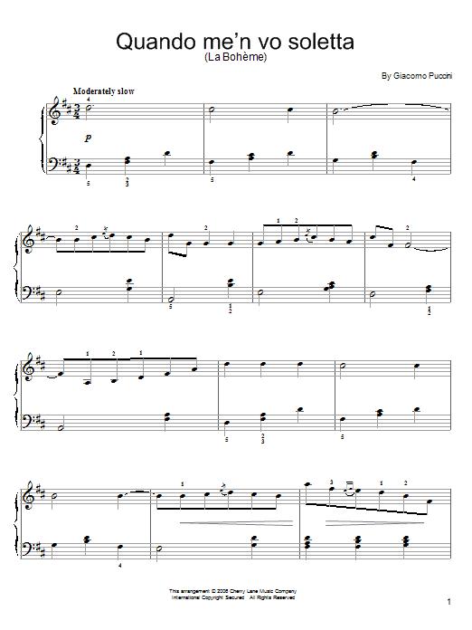 Quando M'en Vo Soletta (Easy Piano)
