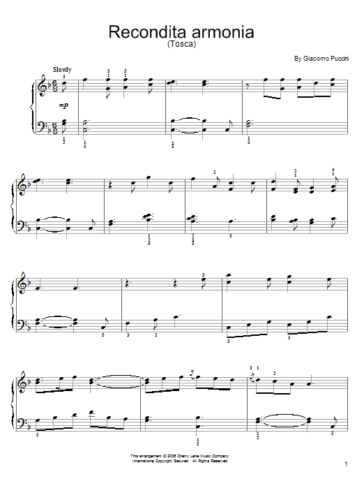 Recondita Armonia Sheet Music