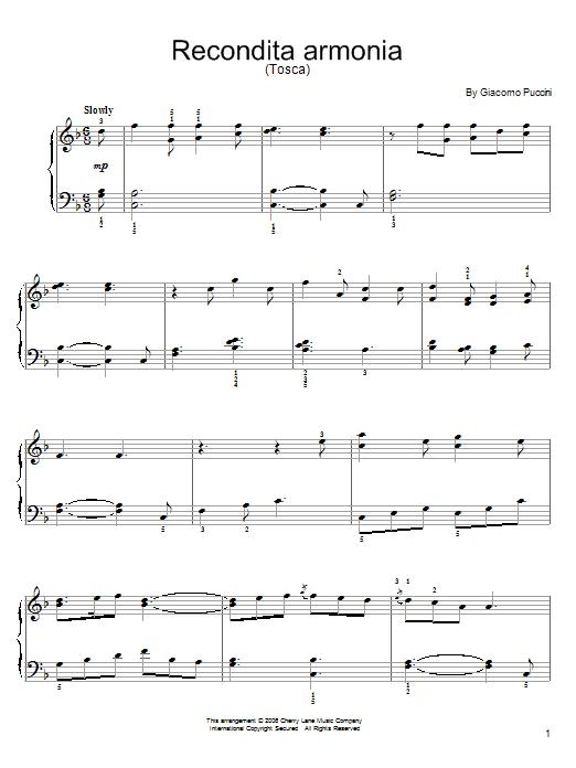Partition piano Recondita Armonia de Giacomo Puccini - Piano Facile