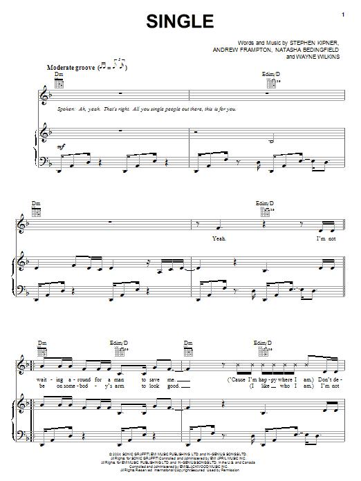 Partition piano Single de Natasha Bedingfield - Piano Voix Guitare (Mélodie Main Droite)