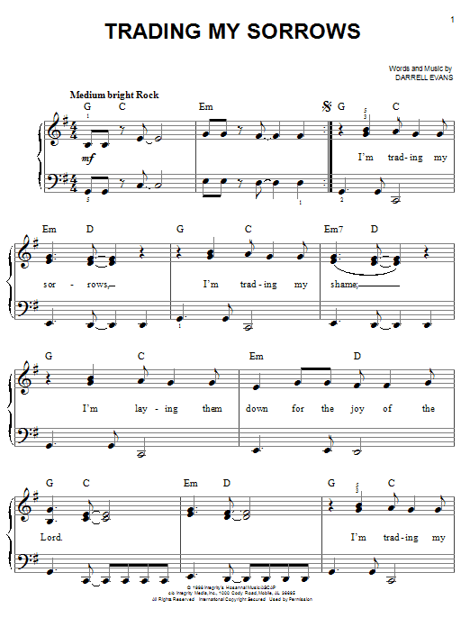 Trading My Sorrows Sheet Music Direct