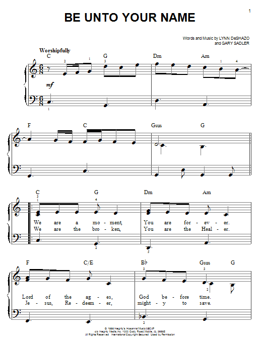 Be Unto Your Name (Easy Piano)