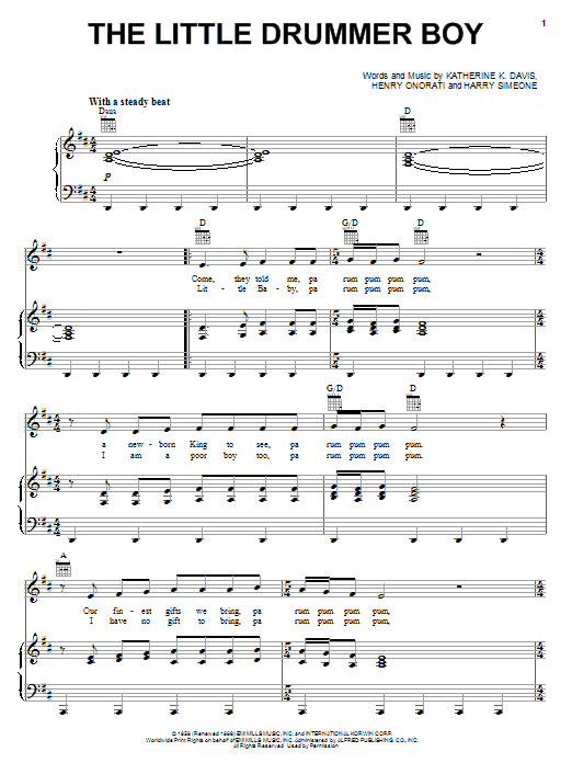 The Little Drummer Boy | Sheet Music Direct
