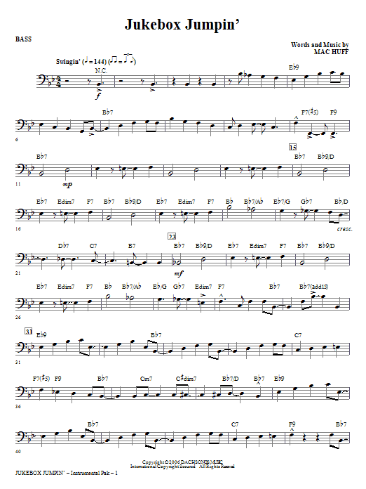 Jukebox Jumpin' - Bass Sheet Music