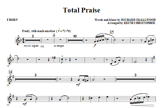 Total Praise - F Horn (Choir Instrumental Pak)
